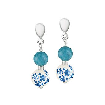 Eternal Collection Meadow Aqua Floral Silver Tone Drop Clip On Earrings