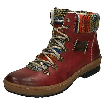 Ladies Rieker Multi Coloured Knitted Trim Ankle Boots Z6743