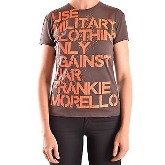 Frankie Morello Ezbc167026 Women's Brown Cotton T-shirt