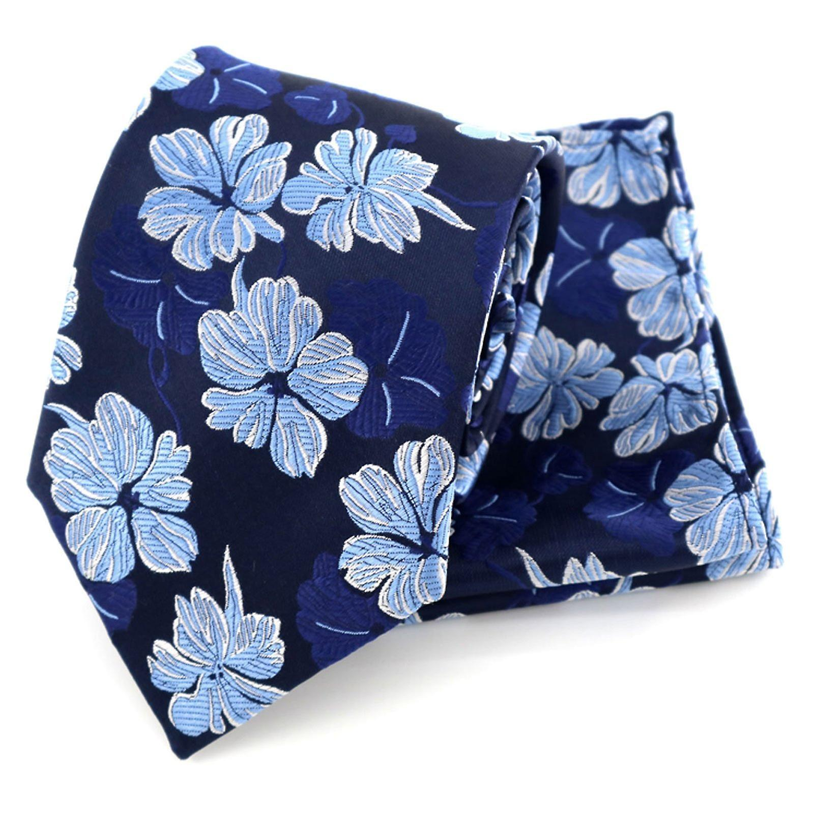 Baby & navy blue floral pattern tie & pocket square set