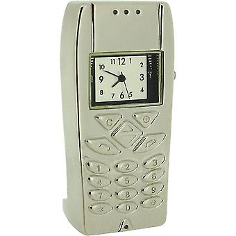 Miniature Silver Plated Metal Mobile Phone Novelty Collectors Clock IMP1022S