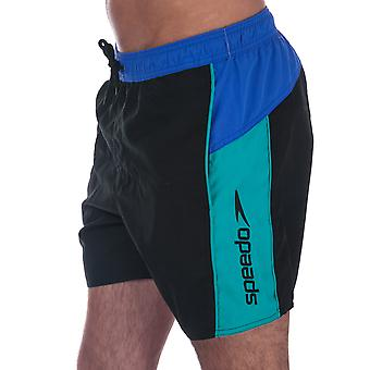 Mens Speedo Sport Spl Schwimmen Shorts in Black Blue-Ribbed Waistband-Externe