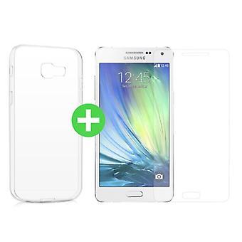Spullen gecertificeerd® Samsung Galaxy A5 2016 transparante TPU Case + Screen Protector Tempered glas