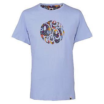 Mooie groene lila bloemen print applique T-shirt