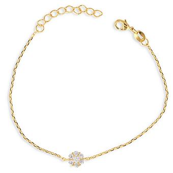 Gold Plated Flower Bracelet With Cubic Zirconia 18cm