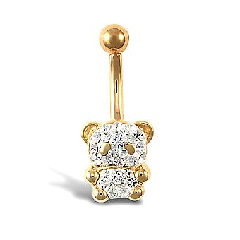 Jewelco London Ladies 9ct Yellow Gold White Round Crystal Teddy Bear Banana Belly Bar, 10mm