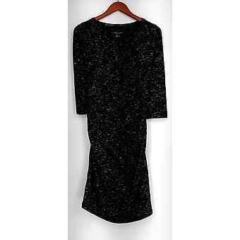 Liz Lange Maternity Dress Stretch Knit Printed Long Sleeve Black #1
