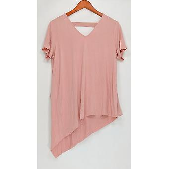Lisa Rinna collectie V-hals top w/chiffon detail roze A303168