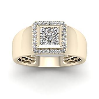 IGI certifié Halo mariage bague de 10 k jaune or 0,50 Ct diamants véritables hommes
