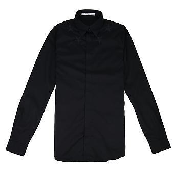 Givenchy ster geborduurd popeline overhemd zwart