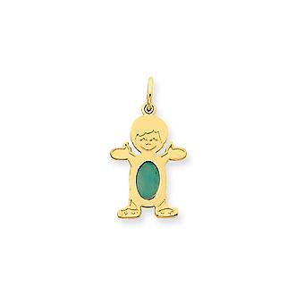 14k Yellow Gold Polished Boy 6x4 Oval Emerald May Pendant