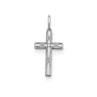 925 Sterling Silver Solid Polished Engravable Laser Etched Laser Designed Religious Faith Cross Charm Pendant Necklace J