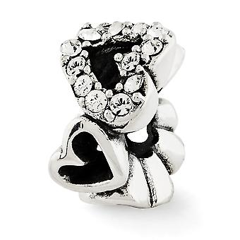 925 Plata de ley acabado antiguo Reflejos cristalinocorazones perlas encanto