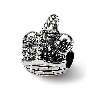 925 Sterling hopea kiillotettu Vintage viimeistely Reflections Pääsiäinen Basket Helmi Charm riipus kaulakoru korut lahjat Wome