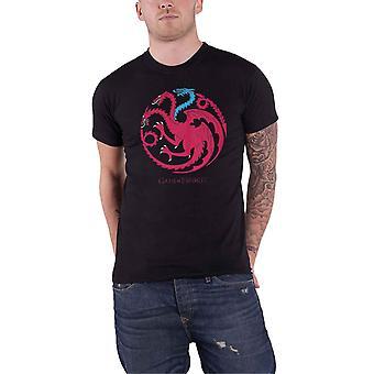 Spiel der Throne T Shirt Targaryen Eisdrachen Logo neue offizielle Herren schwarz