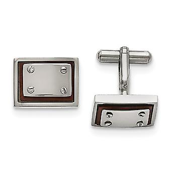 Stainless Steel Polished Wood Inlay Cuff Links Jewelry Gifts for Men
