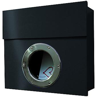 Letterman 1 RADIUS design mailbox with porthole, hidden Castle, modern wall post box black (RAL 9005)