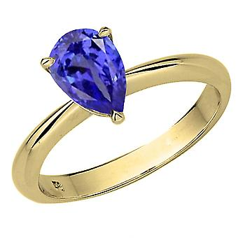 Dazzlingrock Collection 14K 9X7mm Pear Cut Tanzanite Solitaire Bridal Engagement Ring, Oro Blanco