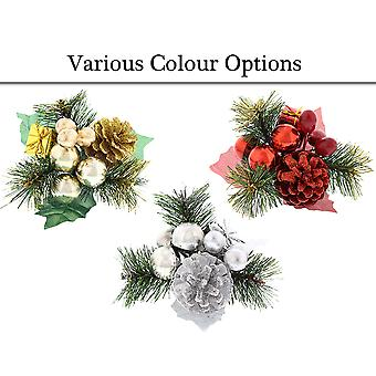 Pine, Pine Cone, Parcel & Baubles Christmas Pick for Floristry Crafts