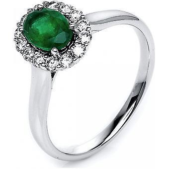 Ædelsten ring diamanter 0,3 CT. Emerald 0,77 CT. Størrelse 54