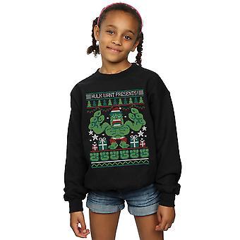 Marvel Girls Hulk Want Presents Fair Isle Sweatshirt