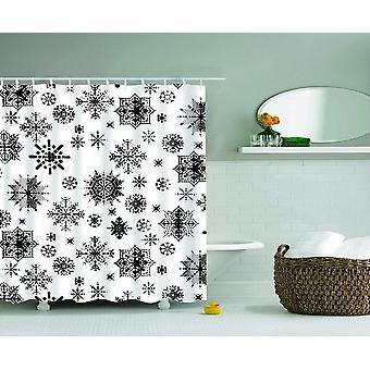 Black And White Snowflakes Shower Curtain