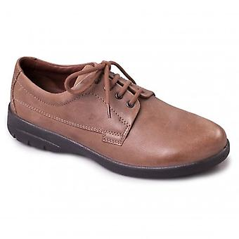 Padders Lunar Mens Leather Wide (g/h) Shoes Taupe