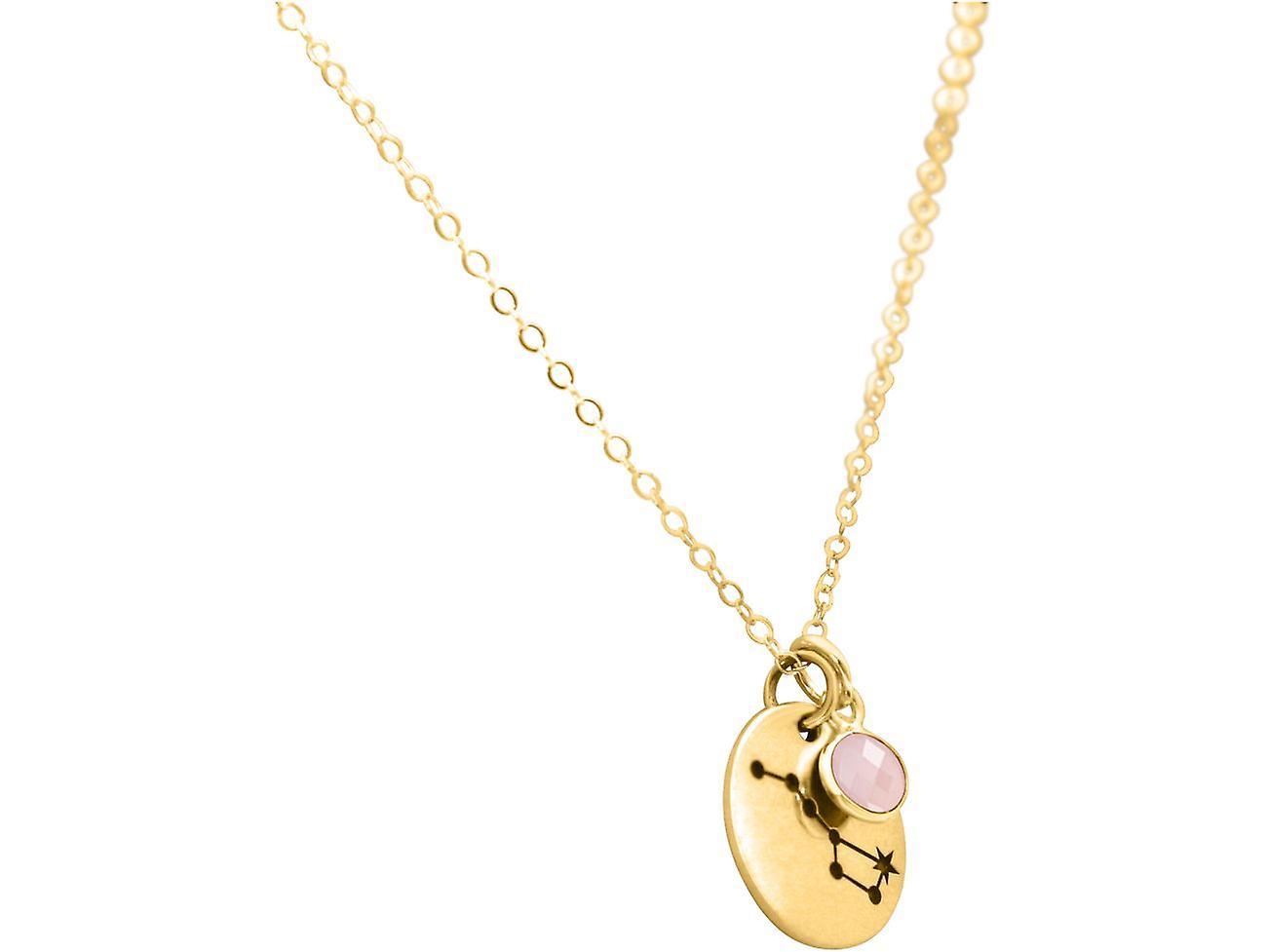 Konstellation Halskette Großer Bär, Wagen 925 Silber, vergoldet, rose Rosenquarz