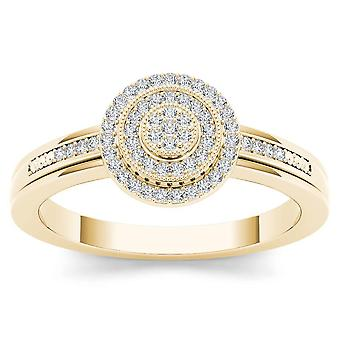 IGI Certified Natural 0.15 Ct 10k YELLOW Gold Diamond Halo Engagement Ring Size