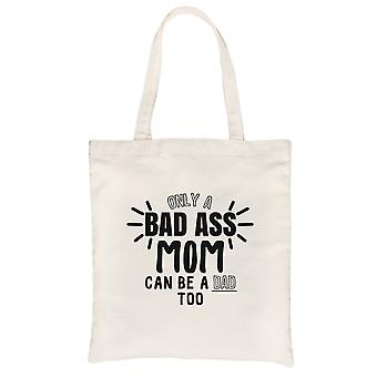 Bad Ass Mom Is Dad Natural Heavy Cotton Canvas Bag Best Mom Gift