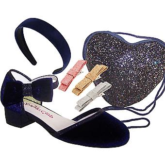 Girls dark blue velvet sparkly low heeled party shoes - Gift Set