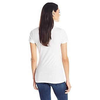 Clementine Apparel Women's Deep V Neck Tee, White, XX-Large
