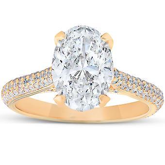 2.68CT 18k Jaune Gold Micropave Diamant et Anneau de fiançailles ovales Moissanite