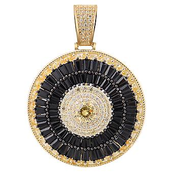 925 sterling silver Pave pendant - CZ SPINNER gold black
