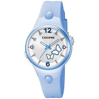 Calypso K5747-4 - söta tid armband silikon blå ruta visar R sine blå flicka