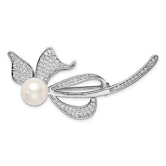 925 Sterling Sølv Rhodium belagt 9 10mm Hvid Ferskvand Kulturperler Pearl CZ Cubic Zirconia simuleret Diamond Bow Pin Je