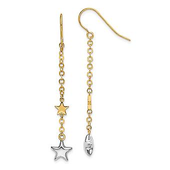 14k Two tone Gold Stars Drop French Wire Earrings Jewelry Gifts for Women - 1.3 Grams