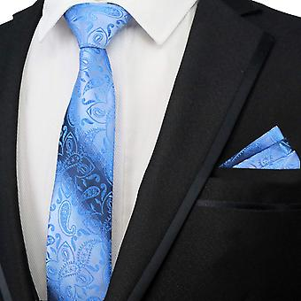 Light & dark blue paisley pattern tie & pocket square