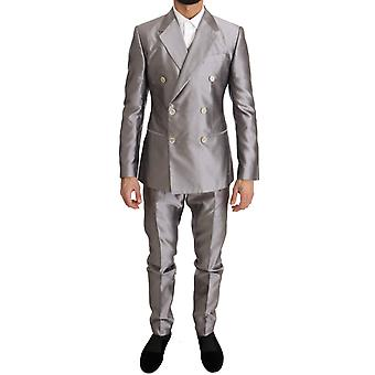 Dolce & Gabbana Silver Silk Double Breasted 3 Piece Suit