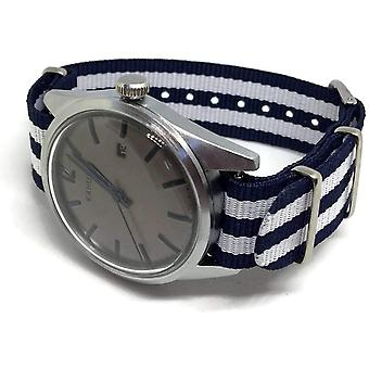 Nato zulu g10 style watch strap dark blue and white  nylon 2 stripe stainless buckle