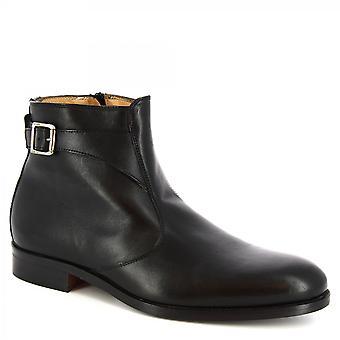 ليوناردو أحذية الرجال & s أحذية الكاحل المصنوعة يدويا في جلد العجل الأسود مع الرمز البريدي الجانب