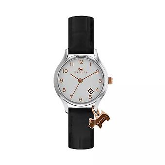 Radley Watches Ry2589 Women's Petite Rose Gold Dog Charm Black Leather Strap Watch