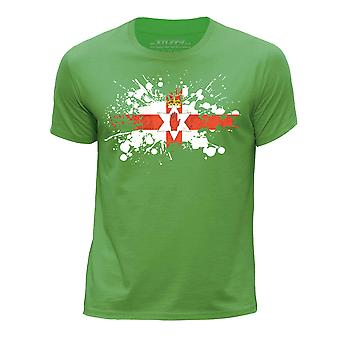 STUFF4 Boy's Round Neck T-Shirt/Northern Ireland/Irish Flag Splat/Green