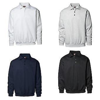 ID Mens Classic Loose Fitting Polo Neck Sweatshirt/Jumper