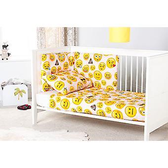 Emoji Ragazza Bambini Nursery Bedding Set 3pc Cot Bumper & Duvet Cover Boys Girls Baby Baby