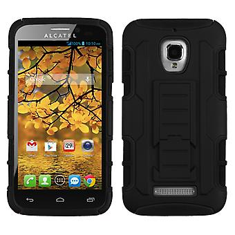 ASMYNA Car Armor Stand Case for Alcatel One Touch Fierce - Black/Black