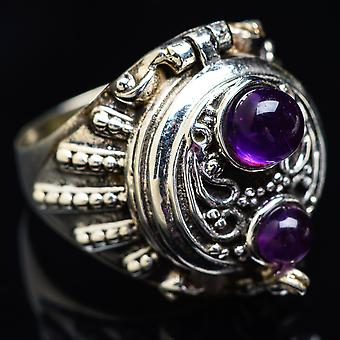 Large Poison Amethyst Ring Size 7.75 (925 Sterling Silver)  - Handmade Boho Vintage Jewelry RING3932