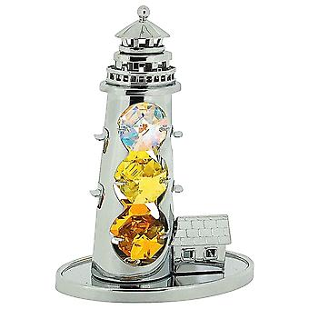 Crystocraft Free Standing Grand Lighthouse Ornament Silver Plated Made With Swarovski Crystals