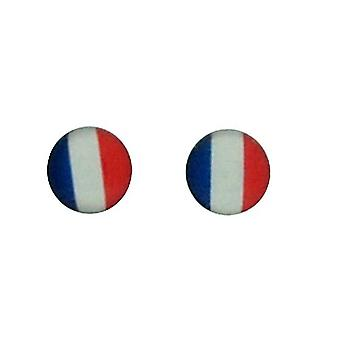 TOC Sterling Silver Round French Flag Stud Earrings 5mm