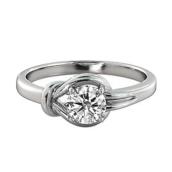 0.6 karaat G VS1 Diamond Engagement Ring 14K White Gold Solitaire knoop 4 tanden